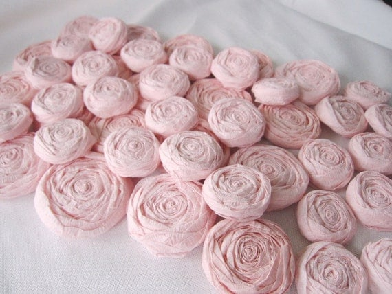 Paper Flowers - Set of 50 - Blush Pink Paper Rosettes - Custom Colors Available