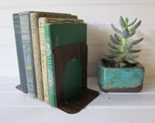 Industrial Bookends, Set of Metal Bookends with Faux Bois Finish in Dark Brown
