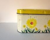 Vintage Yellow Bread Box, Metal Sunny Breadbox, Retro Kitchen Storage and Organization
