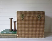 Vintage Storage Box, Portofonic Album Box with Dividers in Brown Houndstooth