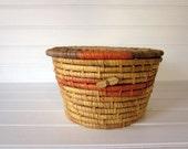 Vintage Woven Basket, Round Handmade Basket in Natural Tan Red and Purple, Great Vintage Storage