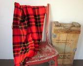 Vintage Wool Blanket, Red Plaid Faribo Retro Blanket