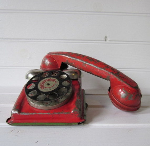 1940s Red Metal Toy Phone by Gongbell