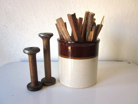 Vintage Brown and White Crock, Small Rustic Crock, Utensil Holder