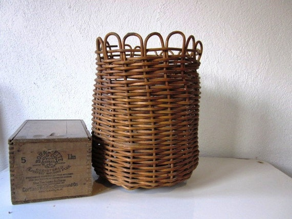 Vintage Woven Small Basket, Brown Little Basket