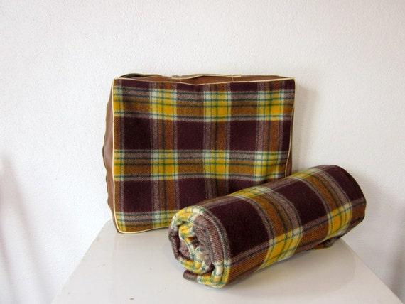 Vintage Wool Pillow Blanket, Brown Plaid by Crown Planket Retro Wool Blanket