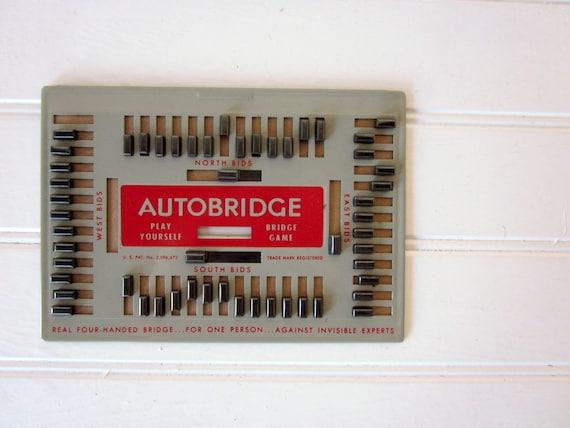 Vintage Auto Bridge Game, Retro Game Board Red and Gray