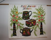 Tea Towel, Early American Tinware, Tinware, Tea Towel, Wall Hanging, Bright Flowers