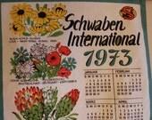 Tea Towel, 1973 Calendar, 1973 Tea Towel, Schwaben International