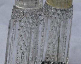 Vintage Elegant Glass Salt and Pepper Shakers, Shabby Chic Salt and Pepper