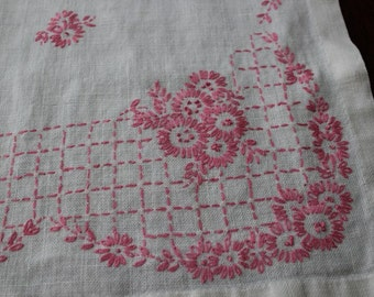 Pink Linen Scarf, Dresser Scarf, Table Runner, Runner, Pink, Table Runner, Vintage Nursery
