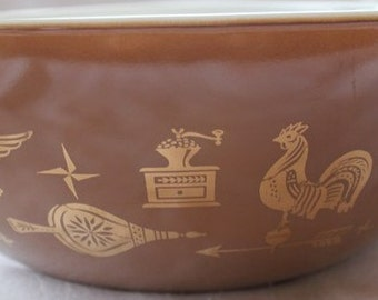 Pyrex Early American Cinderella Nesting Bowls, Pyrex Nesting Bowls, Brown and Gold Pyrex Bowls