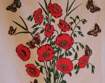 Poppy Tea Towel, Botanical Wall Hanging, Vintage Tea Towel, Poppy, Poppies, Tea Towel