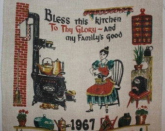 Tea Towel, 1967 Tea Towel, 1967 Calendars, Bless this Kitchen,  Primitive Theme, Gift Wrap, Towel, 1967