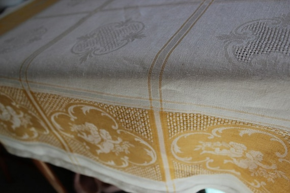 Gorgeous Vintage Tablecloth, Gold and Cream Tablecloth, Gold Tablecloth, Linen Tablecloth, Square Tablecloth, Holiday, Special Occassion