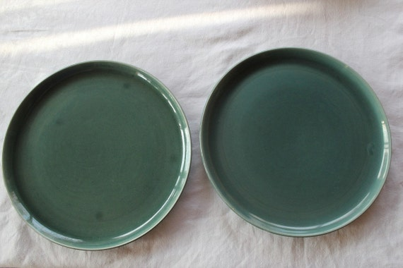 RESERVED for Christine - Set of 2 Seafoam Green Russel Wright Dinner Plates, Russel Wright, Dinner Plates