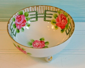 Vintage Nippon Bowl, Footed, Hand Painted Roses, Gold Trim