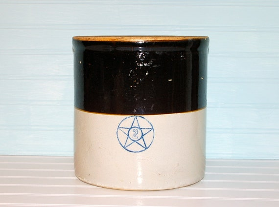 Antique Crock 2 Gallon Stoneware Blue Star Number By Thetinrabbit