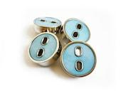 Blue & Silver Buttons, 4 Vintage Buttons