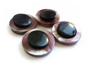 3 Black & Plum Faux Mother of Pearl Buttons, Bicolor Buttons, Large Buttons, One of a Kind
