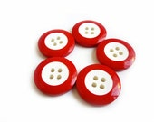 5 Red Vintage Buttons, White & Red Buttons