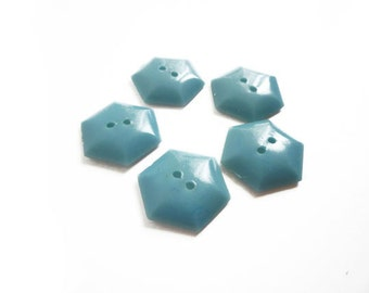 Vintage Buttons, 6 Baby Blue Buttons, Hexagon Buttons