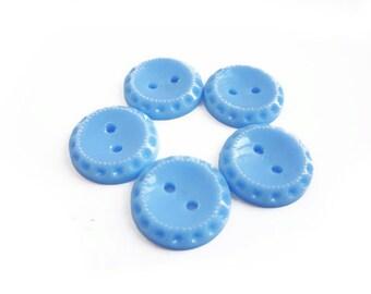 5 Blue Vintage Buttons