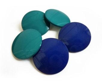5 Blue & Teal Vintage Big Buttons Mix Set