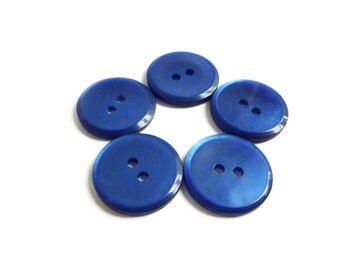 Blue Buttons, Pearlized Dark Blue Vintage Buttons