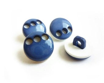 4 Blue & White Buttons