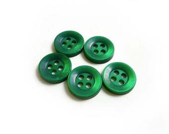 5 Green Emerald Vintage Buttons