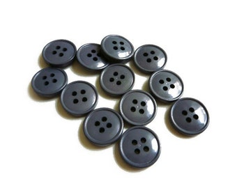 12 Grey Buttons, Charcoal