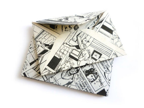 Upcycled Mini Envelopes (8 pcs) made from Vintage (1970-80) French Comics & Confettis pack