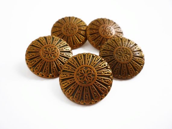 5 Antique Gold Metal Vintage Buttons, Pattern