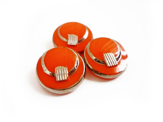 Vintage Glass Buttons, 2 Orange and Silver Glass Buttons
