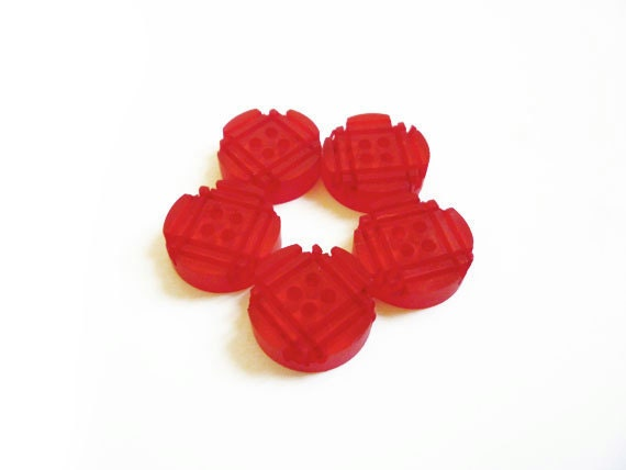 Red Buttons, 6 Vintage Clear Red Buttons, Checked Carved Buttons