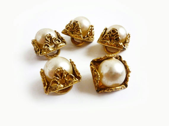 5 Antique Pearl & Gold Metal Buttons