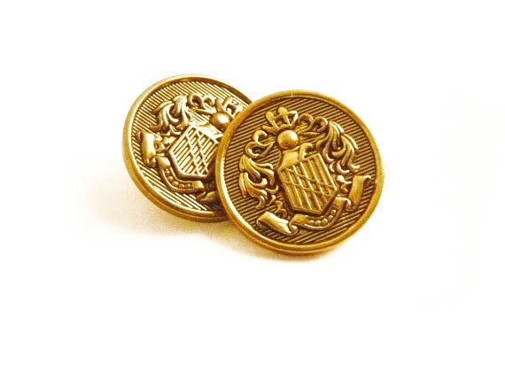 2 Vintage Buttons, Gold French Coat of Arms Buttons