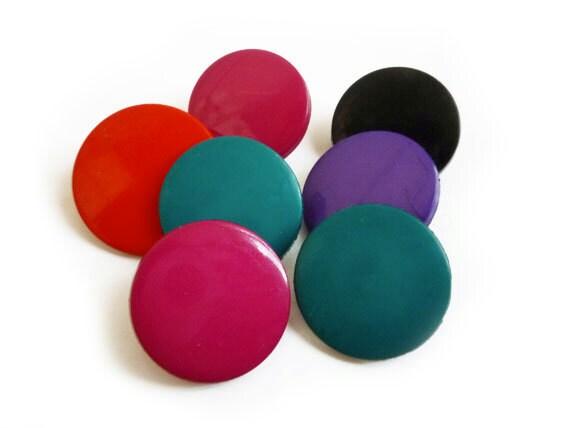 Vintage Buttons, Multi Color Buttons Mix Set (7 pcs)