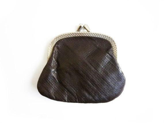 Vintage Brown Leather Frame Purse