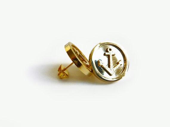 Marinette Gold Anchors Stud Earrings