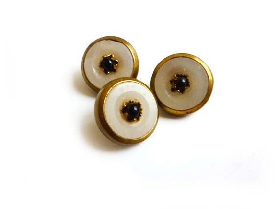 3 Navy & White Antique Buttons, Gold Edges, Made of Glass, Metal