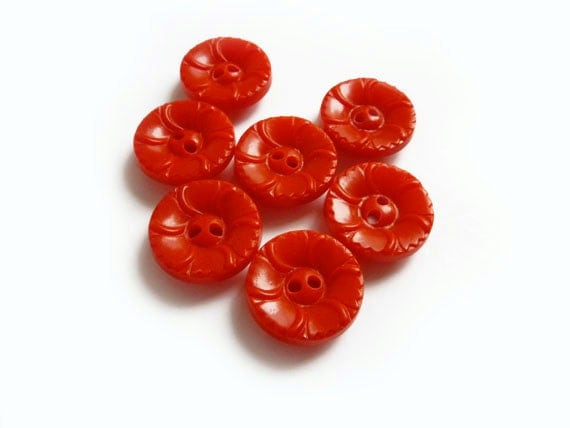 7 Vintage Red Buttons, Small Red Buttons