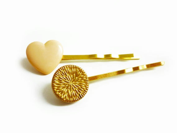 Set of Two Vintage Blush & Gold, Heart Buttons Hair Bobby Pins