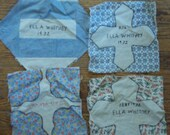 4 Vintage Quilt Squares with Embroidered signature 1930s NOW ON SALE