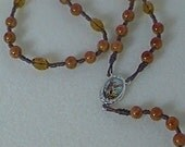 Warm Gold Cord St. Michael Chaplet Rosary