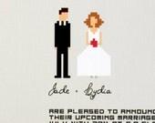 "Printable Wedding invitation suite / funny pixel couple design / casual wedding / ""Let's get digital"""