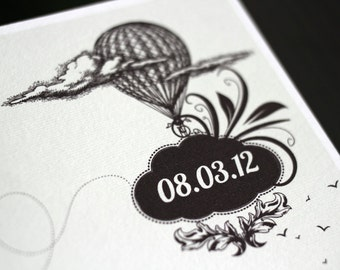 "Printable Save the date  / balloon / DIY template - ""Hot air balloon"" - Vintage theme"
