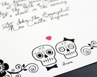 "Day of the Dead Wedding invitation suite / halloween / Sugar scull / DIY set / ""Till Death..."""