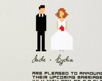 "Geek Wedding invitation suite / funny pixel couple design / casual wedding / ""Let's get digital"""